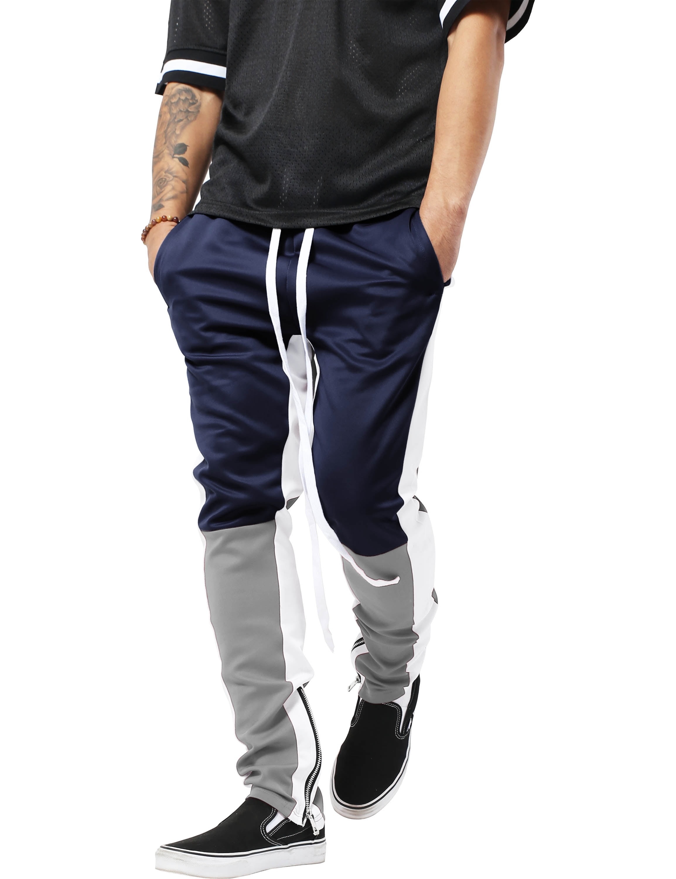 Mens Flame Stripe Track Pants Skinny Fit Stretch Trouser Elastic Jogger