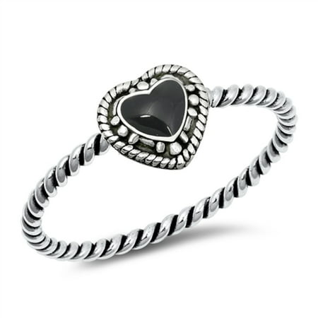 Heart Simulated Onyx Antique Rope Band Ring Sterling Silver Size 8 (Onyx Antique Ring)