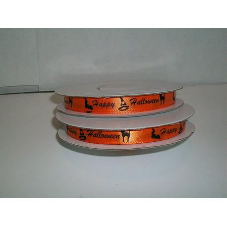 Halloween Whish (Orange Satin Ribbon Happy Halloween Printed 3/8