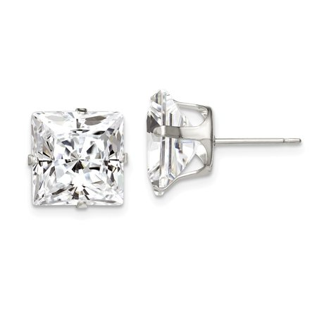 Roy Rose Jewelry Sterling Silver 10mm Square CZ 4 Prong Stud Earrings