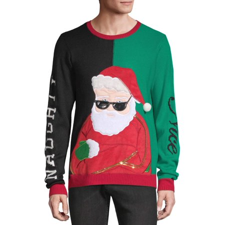Holiday Time Men's Naughty or Nice Ugly Christmas Sweater ()