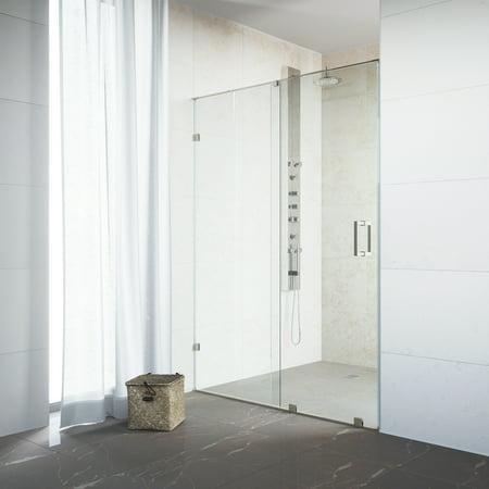 Angle Clear Glass Shower Door - VIGO Ryland 62-inch Frameless Shower Door with .375-in. Clear Glass/Stainless Steel Hardware