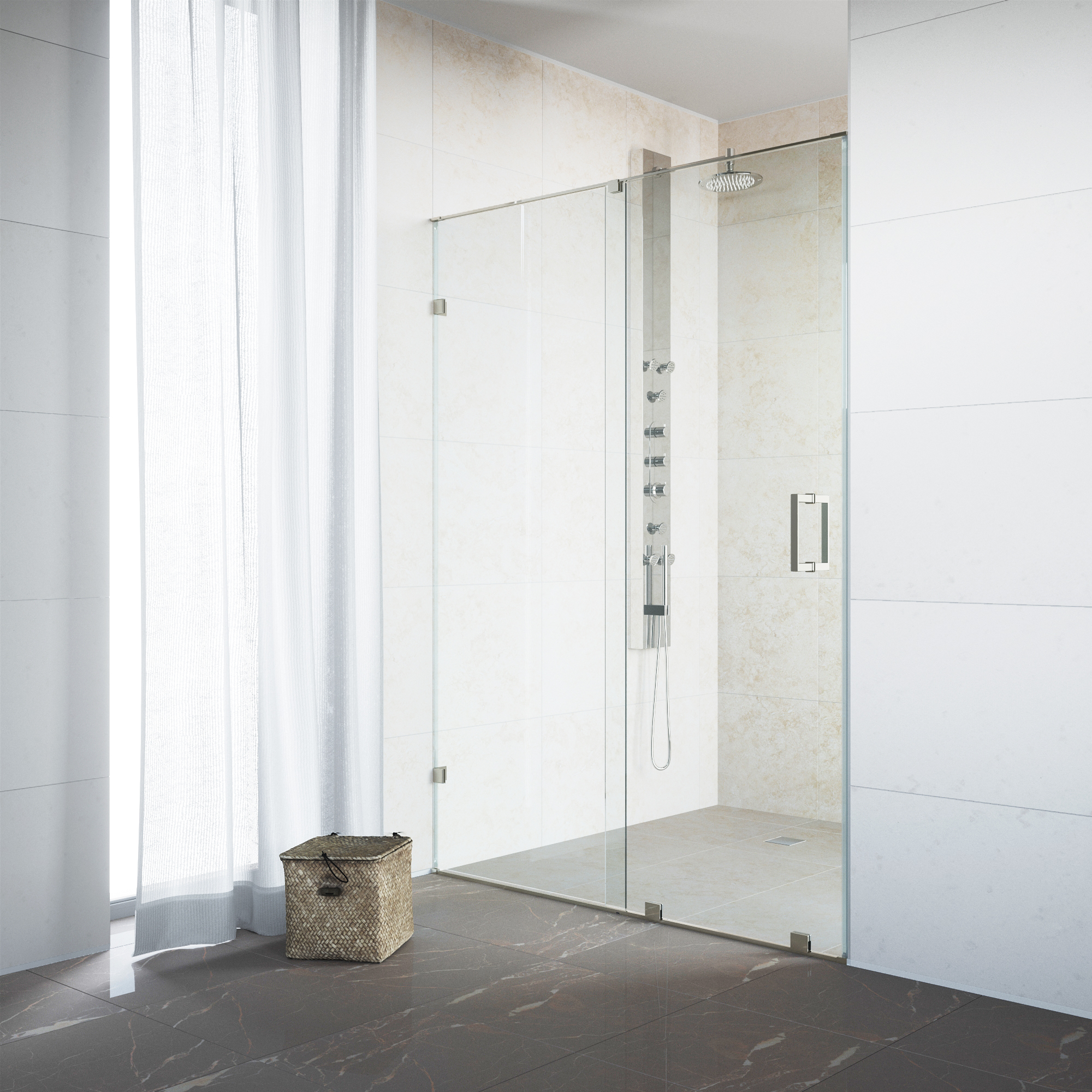 VIGO Ryland 62-inch Frameless Shower Door with .375-in. Clear Glass/Stainless Steel Hardware