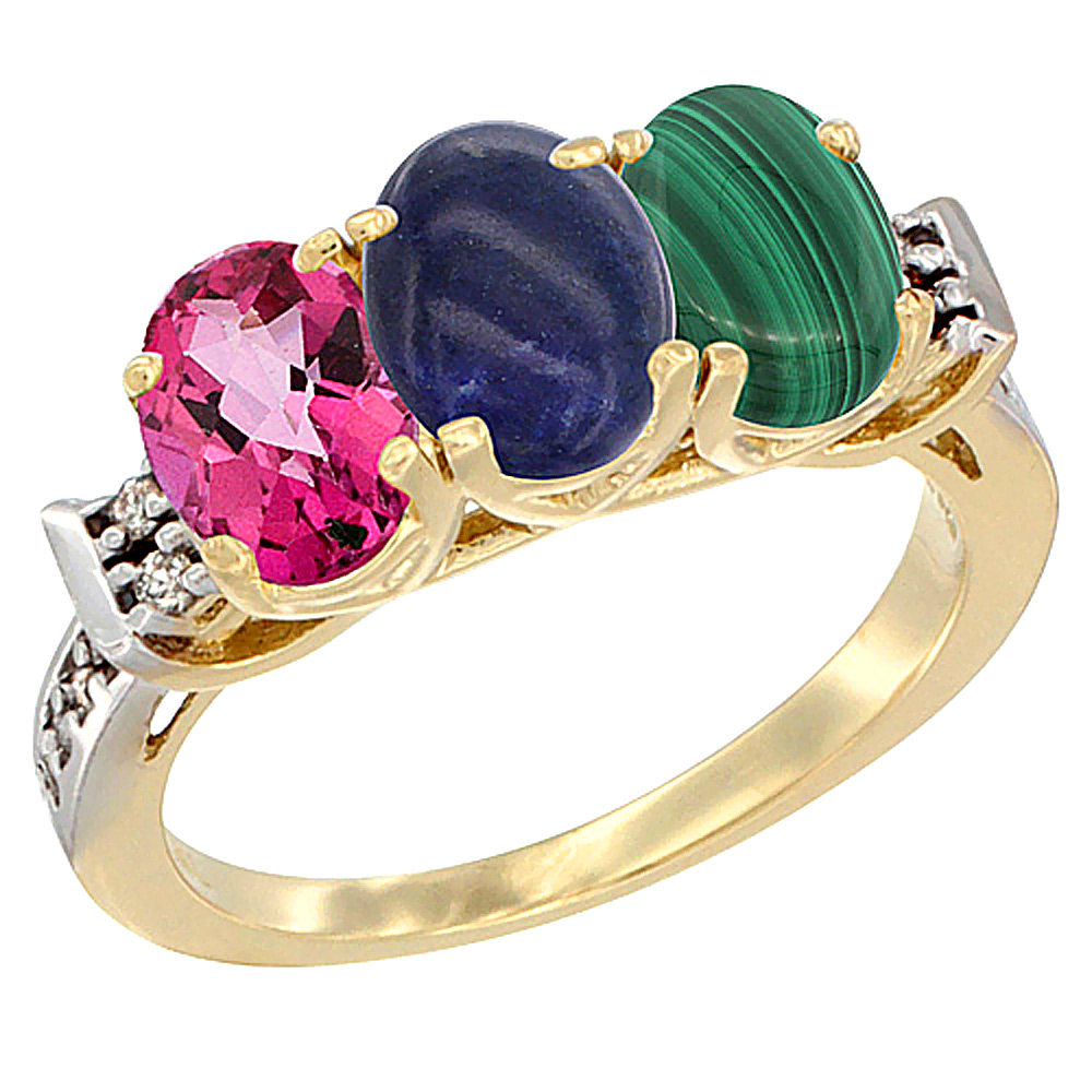 14K Yellow Gold Natural Pink Topaz, Lapis & Malachite Ring 3-Stone Oval 7x5 mm Diamond Accent, sizes 5 10 by WorldJewels