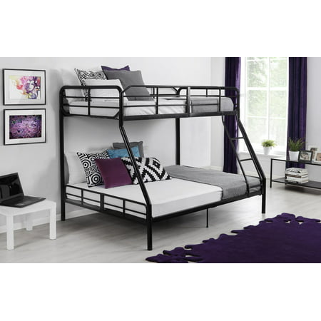 Mainstays Bunk Bed, Twin Over Full, Black, Includes Mattress