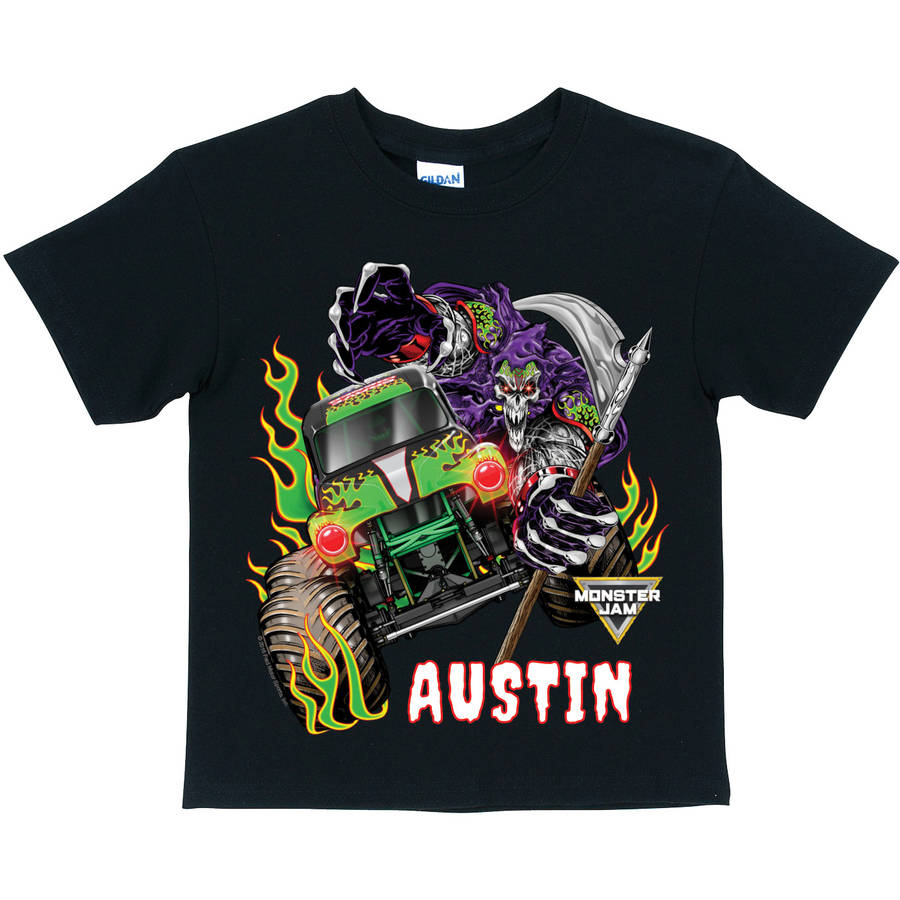 Personalized Monster Jam Grave Digger And Grim Black T-Shirt, Youth, Black