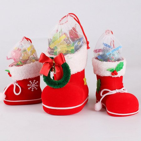 Holiday Time Christmas Decorations Children Gifts Candy Boots Gift Box Santa Claus - Booth Decoration