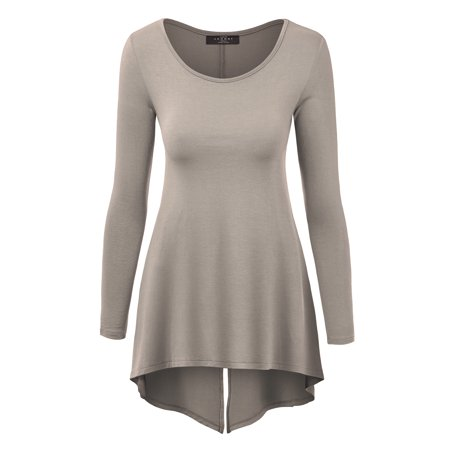 - MBJ WT1172 Womens Round Neck Long Sleeve Tunic with Back Slit XL TAUPE