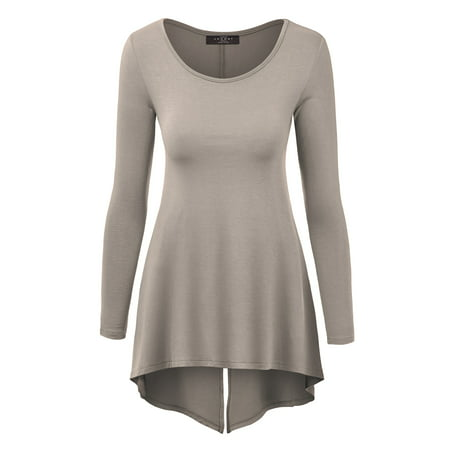 MBJ WT1172 Womens Round Neck Long Sleeve Tunic with Back Slit XL TAUPE