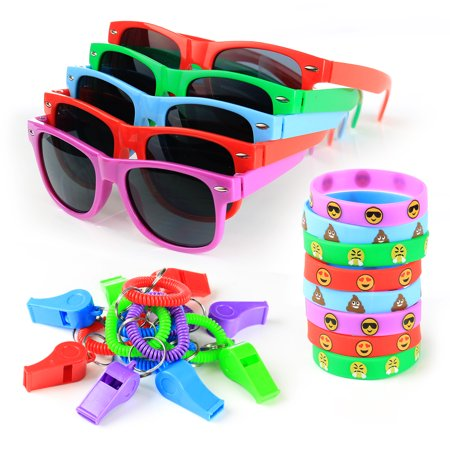 36-pcs Party Gift Favors for Kids,12 Goody Bags: Each Bag includes 12 Whistles + 12 Sunglasses + 12 Emoji Bracelets - Great Prizes - Kids Sunglasses Party Favors