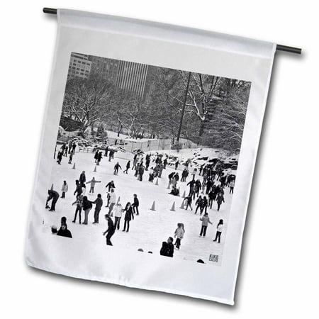 Central Park Snow (3dRose Snow blizzard in Central Park Manhattan New York City Ice Skate Ring - Garden Flag, 12 by 18-inch )