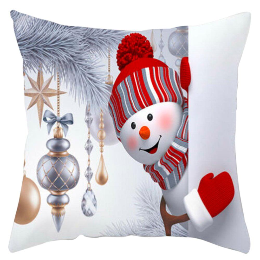 Christmas Sofa Pillow Case 3D Cute Snowman Cushion Cover Xmas Decor 45cm x 45cm