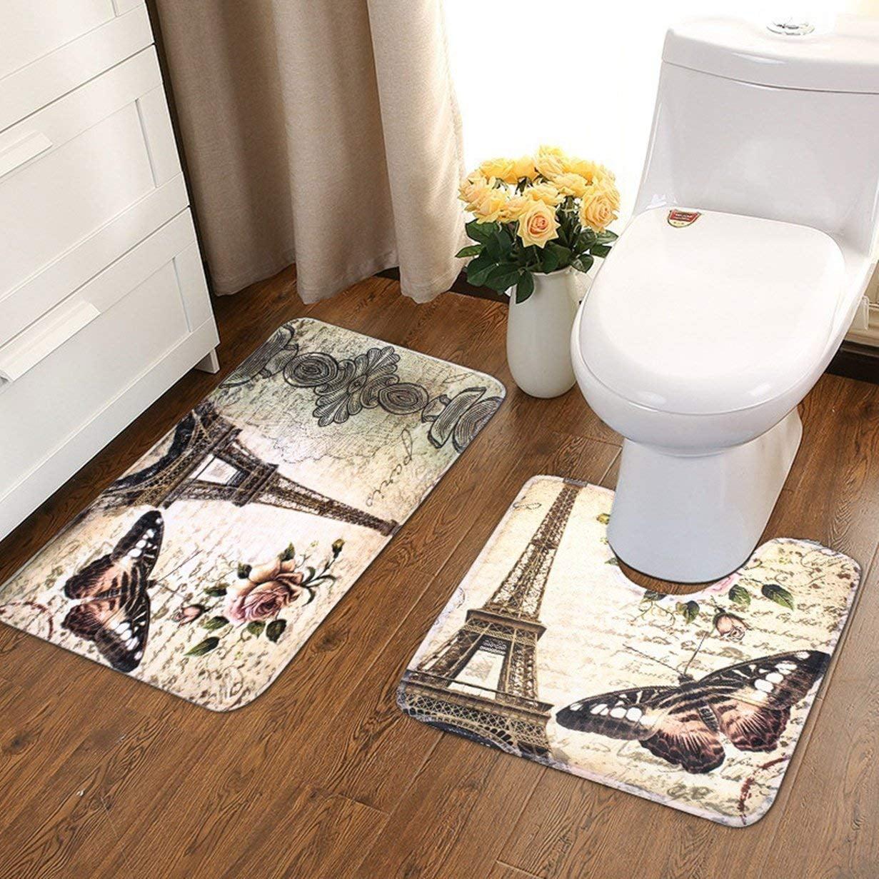 2 Piece Flannel Bathroom Rug Set, Eiffel Tower Design Shower Mat And ...
