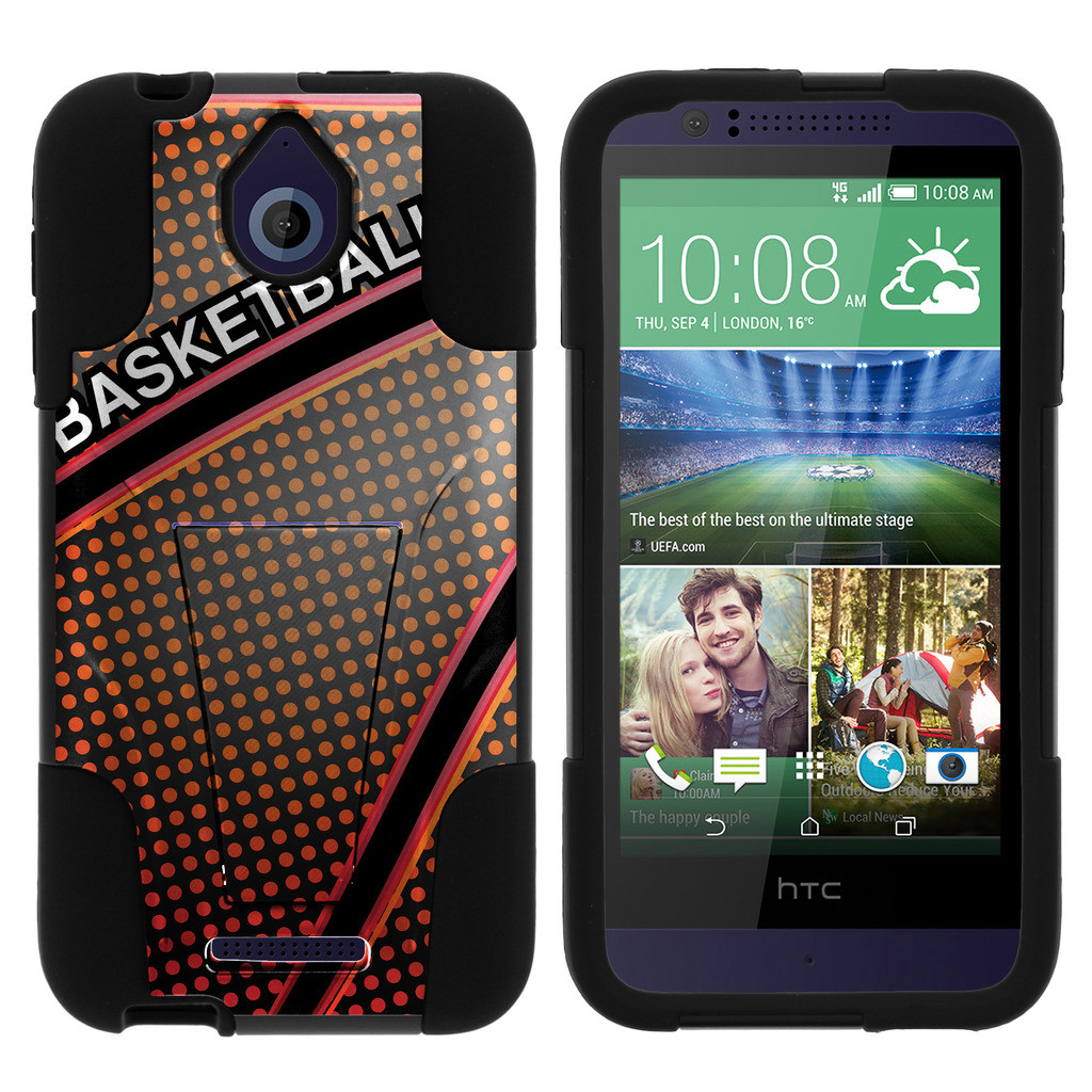 HTC Desire 510 STRIKE IMPACT Dual Layer Shock Absorbing Case with Built-In Kickstand - Basketball Lettering