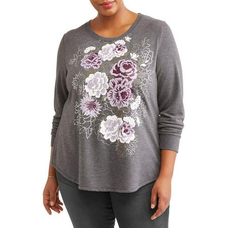 46cfd69c284 Terra   Sky - Women s Plus Size Graphic Sweatshirt - Walmart.com