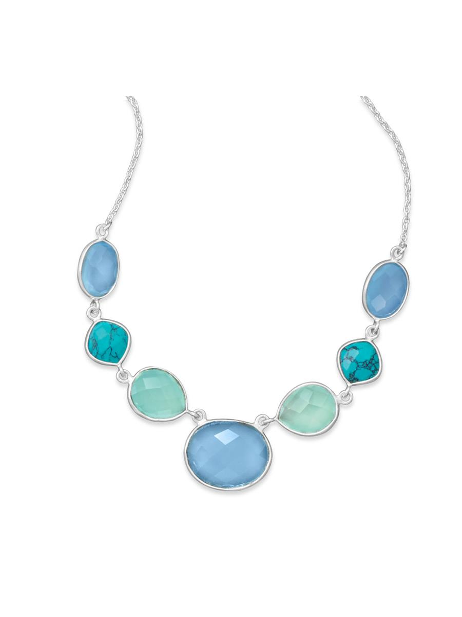 Sterling Silver Stabilized Turquoise and Chalcedony Oceans Necklace by unknown