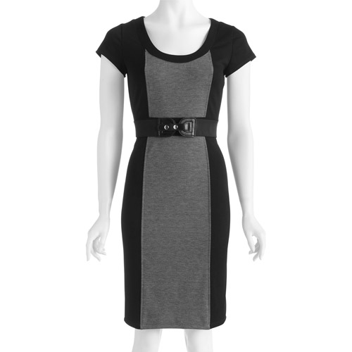 Women's Ponte Belted Colorblock Dress