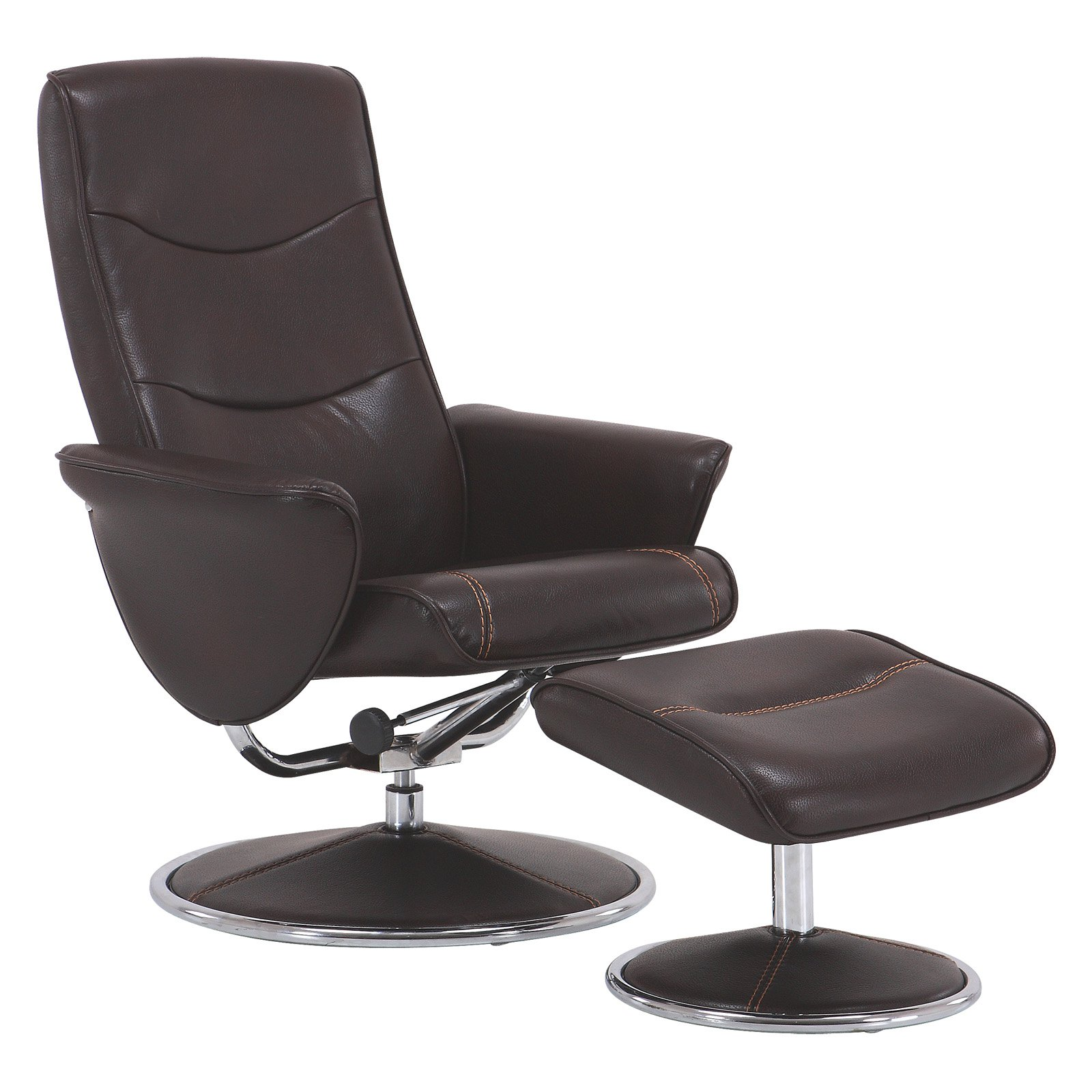Vogue Furniture Direct High Back Manual Swivel Recliner with Ottoman-Brown VF1541002