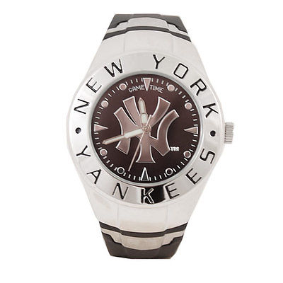 Gametime MLB New York Yankees Mens Sports Watch, Black and Stainless