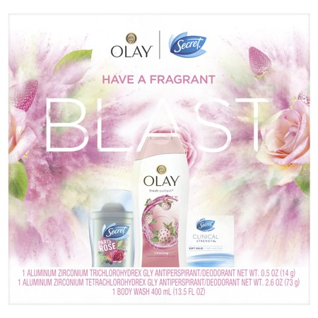Secret Invisible Solid Paris Rose + Clinical Strength Smooth Solid Light and Fresh + Olay Fresh Outlast Body Wash White Strawbery & Mint, Gift Pack