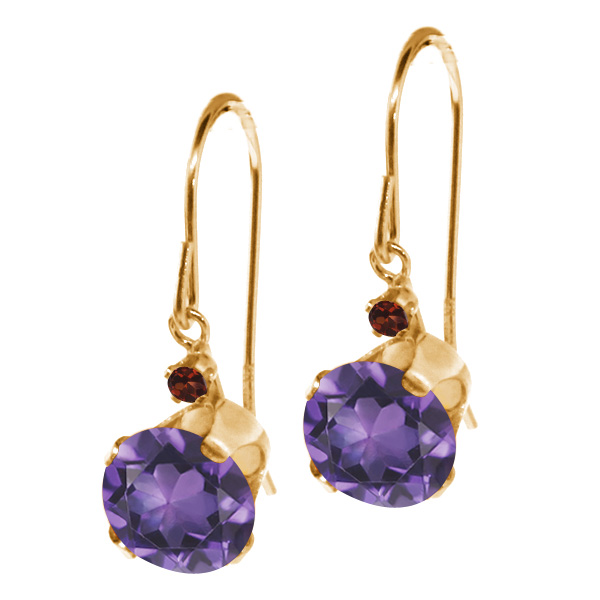 1.54 Ct Round Purple Amethyst Red Garnet 14K Yellow Gold Earrings