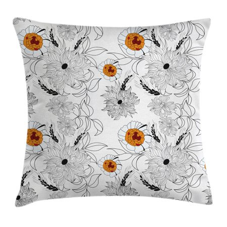 Floral Throw Pillow Cushion Cover, Simplistic Flower Petals Nature Beauty Florets Growth Illustration, Decorative Square Accent Pillow Case, 20 X 20 Inches, Orange Baby Blue White Black, by Ambesonne
