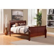 Benzara BM171945 46.75 x 80.25 x 91 in. Eastern King Size Rubberwood Sleigh Bed, Brown