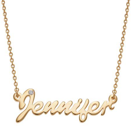Personalized Gold Cartouche (Personalized Women's Sterling Silver or Gold over Silver Petite Script Name with CZ Necklace, 16