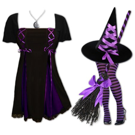 Plus and Regular Size Women's Halloween Witch Costume with Gemini Princess S/S Top, Hat and Tights - Double Dare Costume
