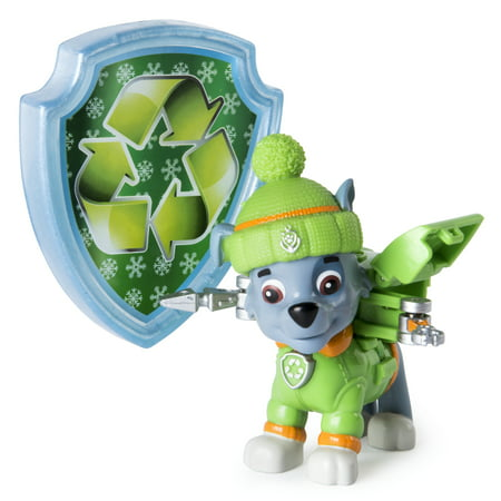 Paw Patrol Snow Rescue – Rocky with Transforming Pup Pack and Badge – Walmart Exclusive