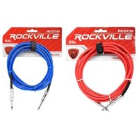 """2 Rockville 10'  1/4"""" TS to 1/4'' TS Guitar/Instrument Cable (Red and Blue)"""