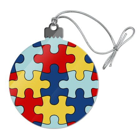 Autism Awareness Diversity Puzzle Pieces Acrylic Christmas Tree Holiday Ornament - Puzzle Piece Ornaments