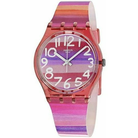 Swatch Women's Astilbe Women's Pink Case Multicolored Band Silicone Watch GP140 ()