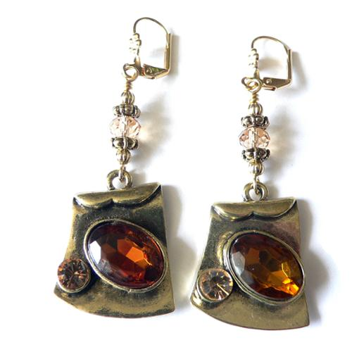 Palmtree Gems Amber' Dangle Earrings