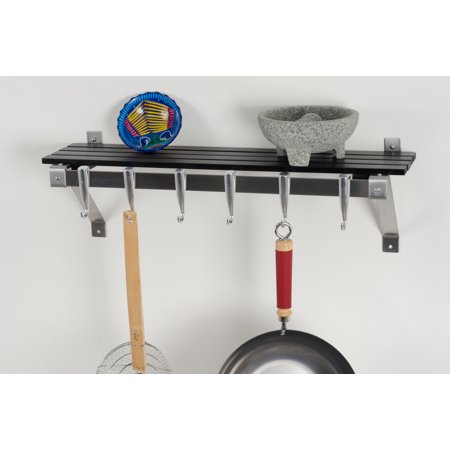 Concept Housewares, Wall Mounted Stainless Steel Track Wall Kitchen Rack with Charcoal Grey Shelf, cast aluminum hooks suspended from stainless steel track system slide into any desired position.