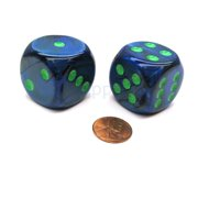 Chessex Lustrous 30mm Large D6 Dice, 2 Pieces - Dark Blue with Green Pips #DL3086
