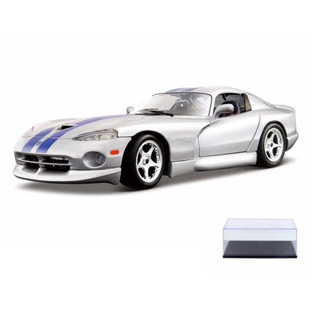 Diecast Car & Display Case Package - Dodge Viper GTS Coupe, Silver - Bburago 12041 - 1/18 Scale Diecast Model Toy Car w/Display Case