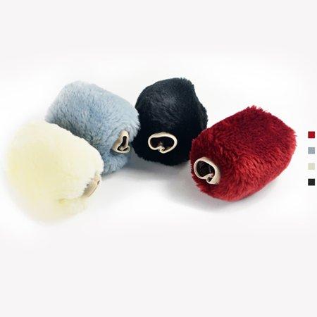 3pcs voiture style volant frein à main changement levier hiver laine feutre doux confortable auto accessoires couverture intérieur cas plush décoration - image 5 de 7
