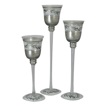 (Set of 3 Pewter Vine Hand Painted Stemmed Votive Candle Holders 12
