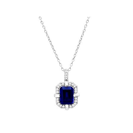 1 1/6 ct Created Blue & White Sapphire Frame Pendant Necklace in Sterling Silver