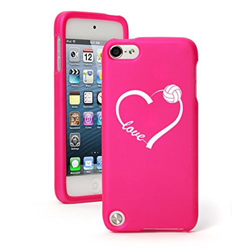 Apple iPod Touch 5 5th Generation Rubber Hard Case Cover Love Heart Volleyball (Hot Pink)