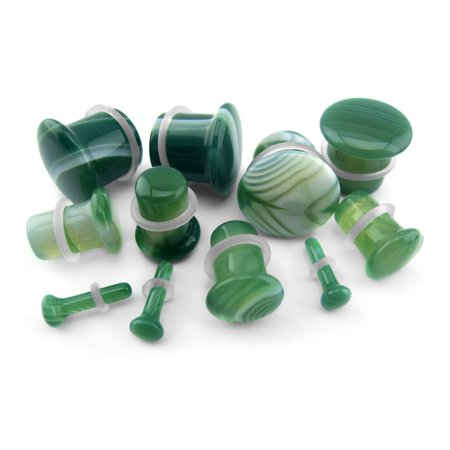 00 Gauge (00G - 10mm) Green Line Agate Stone Plugs / Ear Gauges - Single Flare (2 pieces)