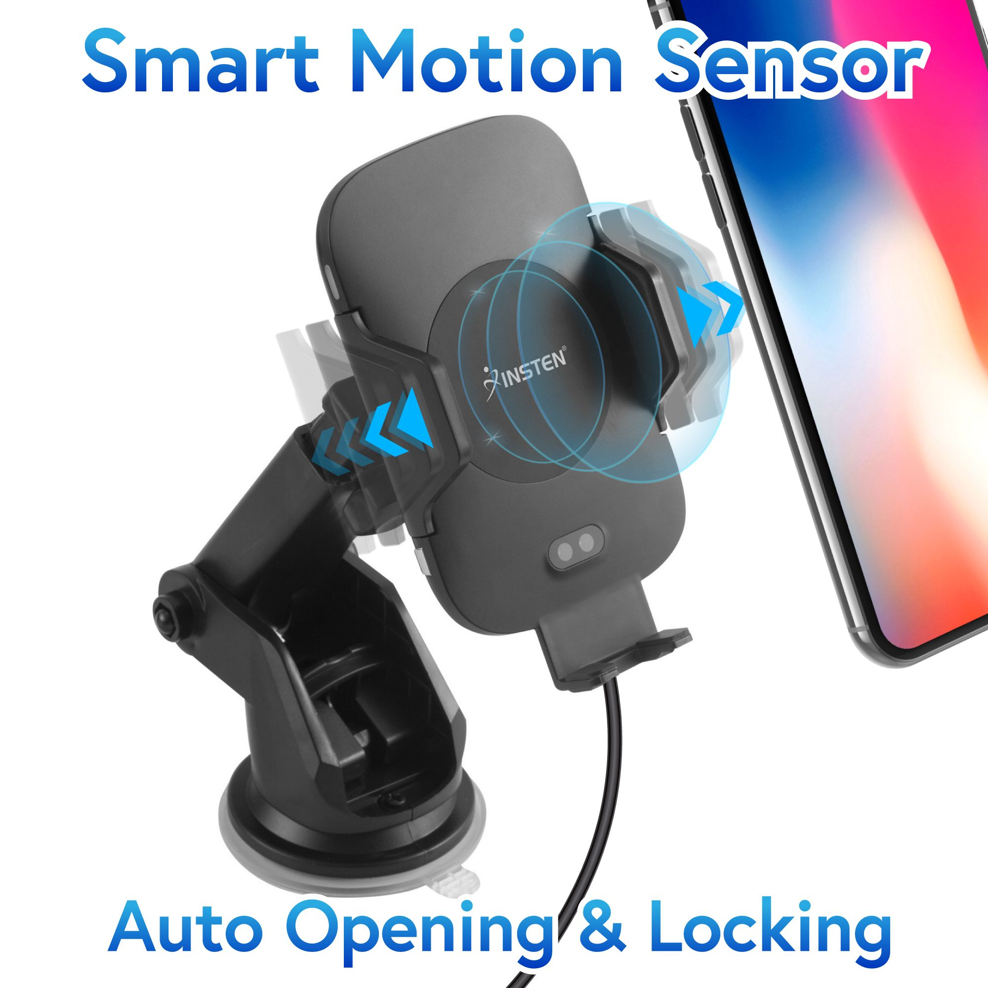 Insten Infrared Sensor Auto Open and Lock Air Vent & Suction Car Mount with Fast Wireless Charging Pad for iPhone XS X 8 Plus Samsung Galaxy S9 S9+ S8 LG G7