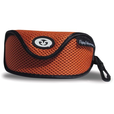 Flying Fisherman Sunglass Case with Clip, Orange Mesh