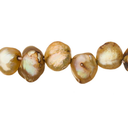 Cream Brown Freshwater Cultured Pearls Natural Button (Side-Drilled), C+ Graded, 9x4x7mm (Approx.), 15.5Inch Strings/58Pearls