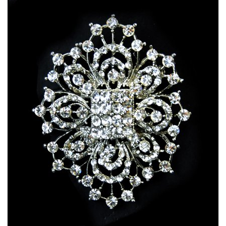 "Belagio 2"" x 2.75"" Rhinestone Oval Medallion Brooch, 1 Each"