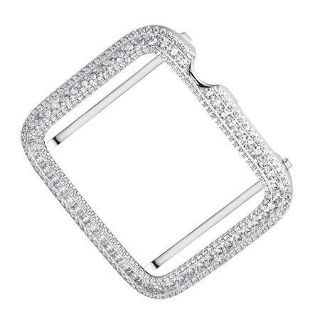 White Inserts Finish (Real Sterling Silver Series # 1 Bling Apple Watch Simulated Diamonds White Gold Finish Bezel Cover Case Insert 42mm )