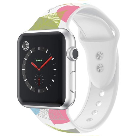 Apple Watch Bands 40mm with Full Body Clear Hard Case Temper Glass Screen Protector Soft Silicone Wrist Band for iWatch Apple Watch Series 4 - White with Leaves