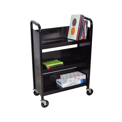 Luxor 3 Shelf Wide Slant Book Truck in Black