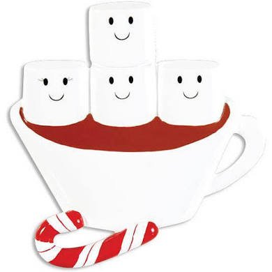 Hot Chocolate Coco Marshmallow Family of 4 Personalized Christmas Tree Ornament